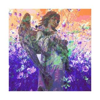 Ángel en un prado de la flor lona estirada galerías