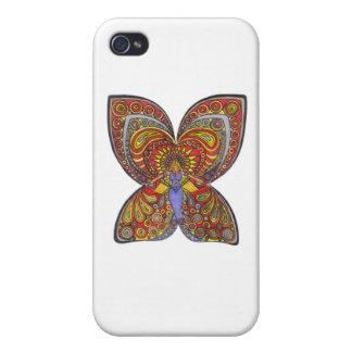 Ángel en un vestido azul con las alas de la maripo iPhone 4 carcasa