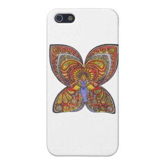 Ángel en un vestido azul con las alas de la maripo iPhone 5 coberturas