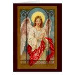 Ángel en una tarjeta de Navidad de la ventana de c