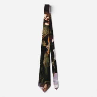 Ángel en verde con un Vielle de Leonardo da Vinci Corbatas Personalizadas