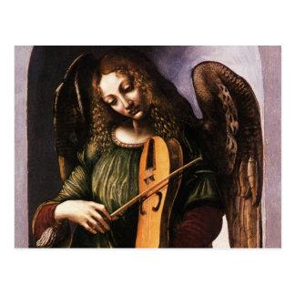 Ángel en verde con un Vielle de Leonardo da Vinci Postales