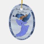 Ángel en vitral azul adorno de navidad