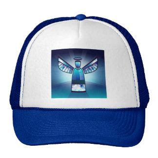 Ángel en vitral azul gorras