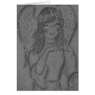 Ángel encantador - tonos del carbón de leña tarjeta de felicitación