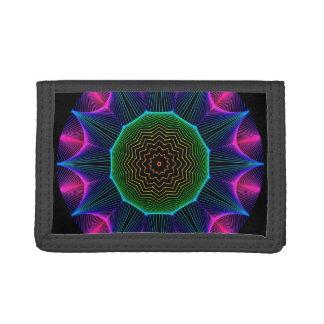 Angel Energy Mandala, Abstract Magenta Tri-fold Wallets
