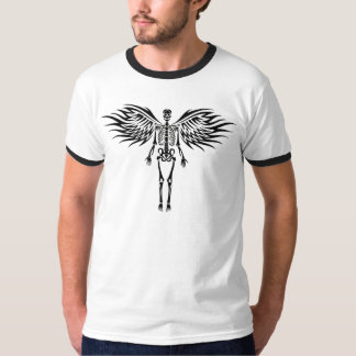 Ángel esquelético tribal grande con diseño fresco playera