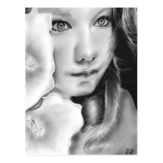 Angel Eyes Girl Flower Postcard