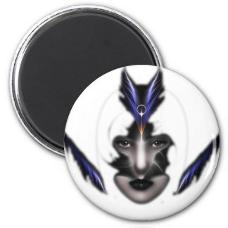 Angel Eyes Wings Of Wind Fractal Art 2 Inch Round Magnet