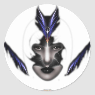 Angel Eyes Wings Of Wind Fractal Art Classic Round Sticker