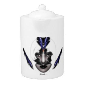Angel Eyes Wings Of Wind Fractal Art Tea Pot