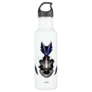 Angel Eyes Wings Of Wind Fractal Art Water Bottle
