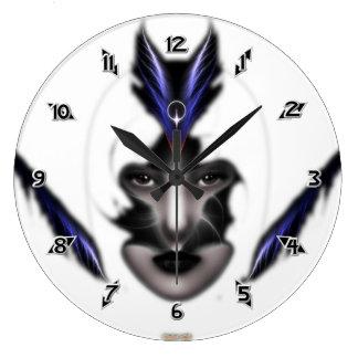 Angel Eyes Wings Of Wind ISO Fractal Art Large Clock
