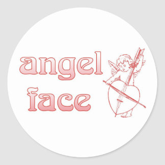 Angel face classic round sticker