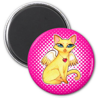 Angel Fairy Kitty Cat Fantasy Art - CUSTOM COLORS 2 Inch Round Magnet