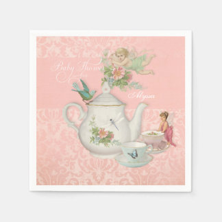 Angel Fairy Teapot Tea Cup Party Baby Shower Decor Napkin
