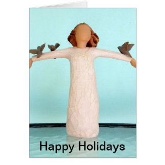 Angel Figurine with Bluebirds on Outstretched Arms Card