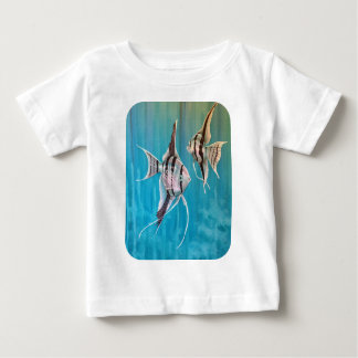 Angel fish on pretty blue background oil painting baby T-Shirt