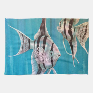 Angel fish on pretty blue background oil painting kitchen towel