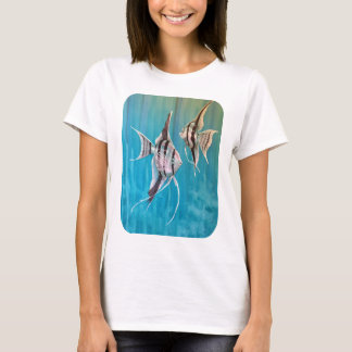 Angel fish on pretty blue background oil painting T-Shirt