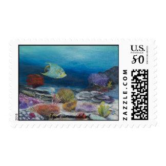 Angel fish painting on postage