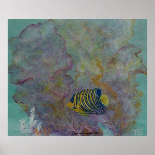 Angel fish painting on print