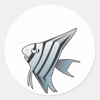 Angel fish round sticker