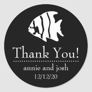 Angel Fish Thank You Labels (Black) Stickers