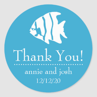 Angel Fish Thank You Labels (Blue) Classic Round Sticker