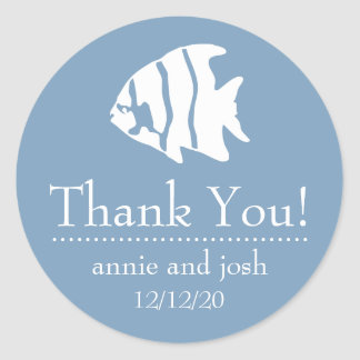 Angel Fish Thank You Labels (Blue Gray)