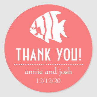 Angel Fish Thank You Labels (Coral) Sticker