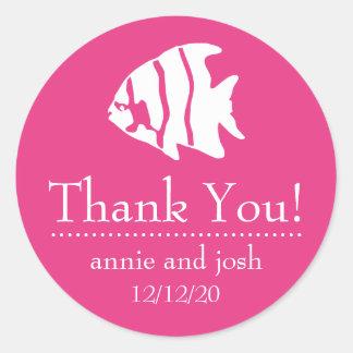 Angel Fish Thank You Labels (Dark Pink)