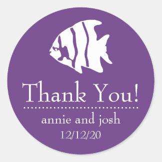 Angel Fish Thank You Labels (Dark Purple)