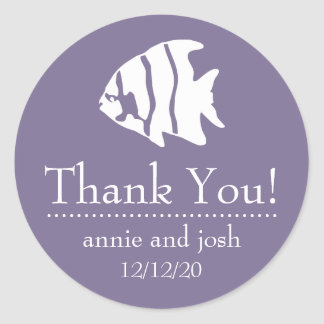 Angel Fish Thank You Labels (Eggplant Purple) Stickers