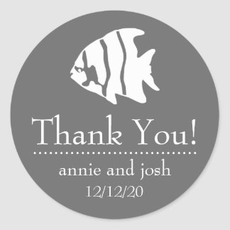 Angel Fish Thank You Labels (Gray / White)