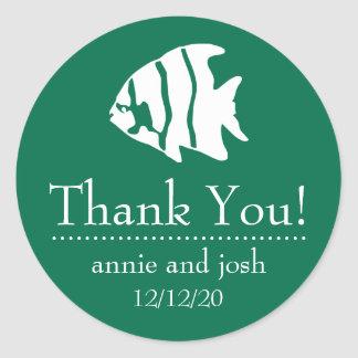 Angel Fish Thank You Labels (Green)