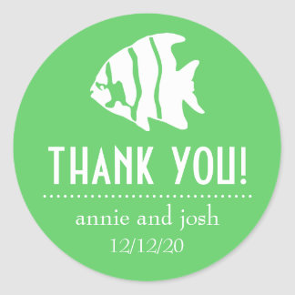 Angel Fish Thank You Labels (Lime Green / White)