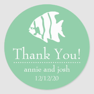 Angel Fish Thank You Labels (Mint Green)