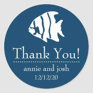 Angel Fish Thank You Labels (Navy Blue)