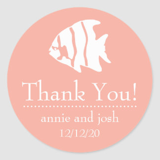 Angel Fish Thank You Labels (Peach)