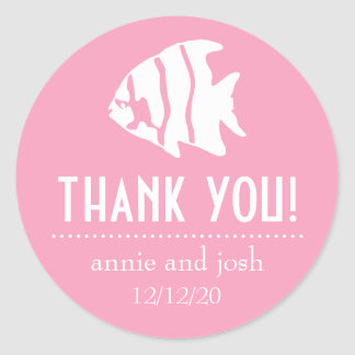 Angel Fish Thank You Labels (Pink)