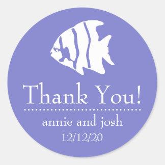 Angel Fish Thank You Labels (Plum Purple)