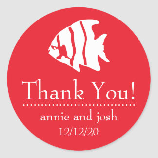 Angel Fish Thank You Labels (Red) Classic Round Sticker