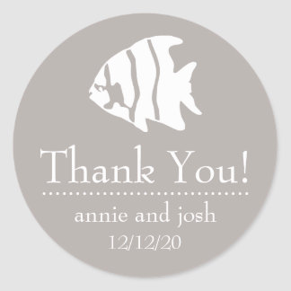 Angel Fish Thank You Labels (Sand Taupe Gray)