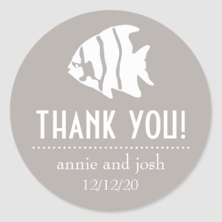 Angel Fish Thank You Labels (Sand Taupe Gray) Sticker