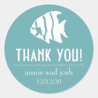 Angel Fish Thank You Labels (Sea Foam Green) Classic Round Sticker