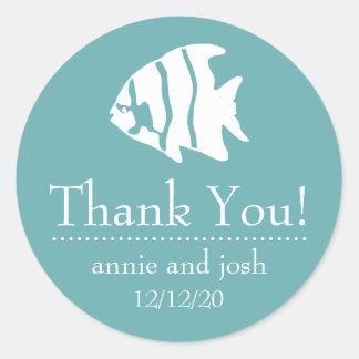 Angel Fish Thank You Labels (Sea Foam Green) Sticker