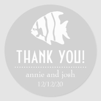 Angel Fish Thank You Labels (Silver Gray / White) Classic Round Sticker