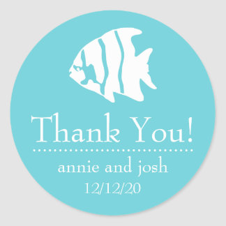 Angel Fish Thank You Labels (Teal)