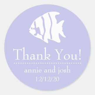Angel Fish Thank You Labels (Violet Purple)